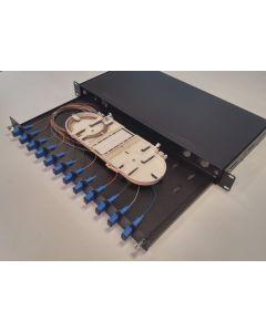 19'' ODF  12 порта, симплекс, 1U, 1 касети, 12 термофити