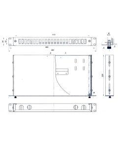19'' ODF  12 порта, дуплекс, 1U, 1 касета, 24 термофити
